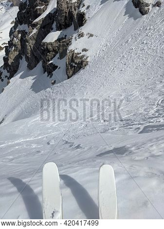 North Couloire On The Mutteristock. Pure Adrenaline. Super Freeride Conditions. Adventure In The Mou