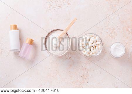 Different Types Of Collagen For Skin Care. Collagen In Powder, In Tablets, In Moisturizer, In Serum