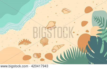Tropical Beach Illustration With Sand, Sea, Shells And Palm Trees. Summer Flyer With The Sea Coast,