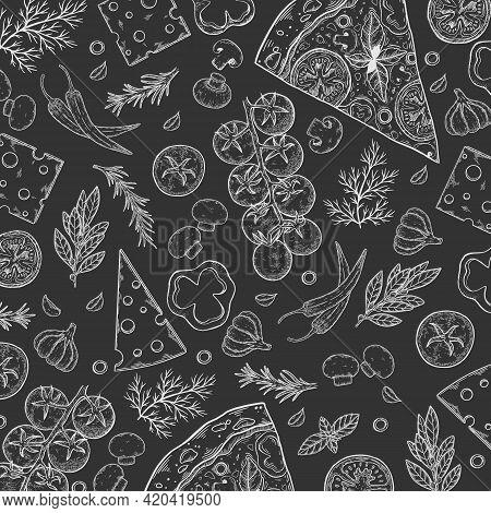 Pizza Ingredients Background. Linear Graphic. Tomato, Garlic, Basil, Olive, Pepper, Mushroom, Leaf.