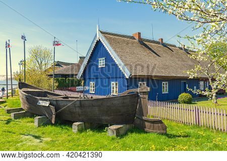 Nida, Lithuania - May 10 2021: Ethnographic Fisherman\'s Museum. Beautiful Old Lithuanian Traditiona