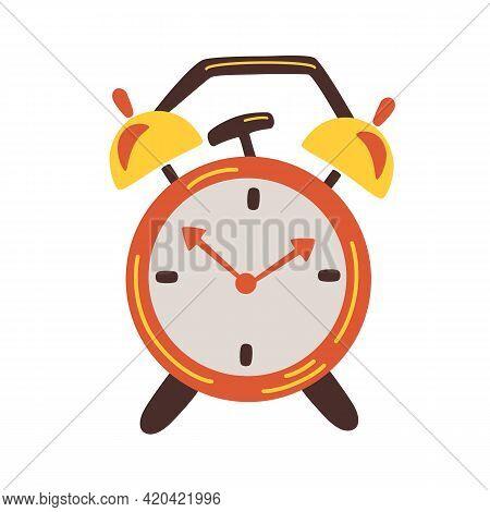 Alarm Clock. Clock Design Concept. Retro Red Alarm Clock Is Ringing. Wake-up Time. Morning Time. Fla