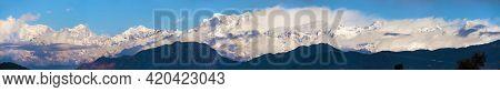 Morning Panoramic View Of Mount Chaukhamba, Himalaya, Panoramic View Of Indian Himalayas, Great Hima