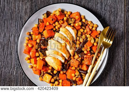 Traybake Salad Of Chickpea With Butternut, Eggplant, With Lemon And Baked Chicken Breast, Served On