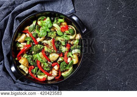 Broccoli And Chicken Bake With New Potato, Red Pepper, Courgette, Black Olives With Fresh Basil Leav