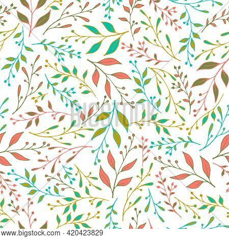 Spring Leaf Stem Pattern Seamless Vector. Stylish