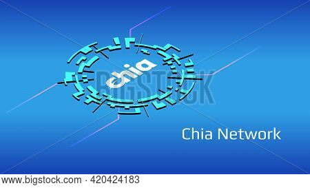Chia Network Xch Isometric Token Symbol Of The Defi Project In Digital Circle On Blue Background. Cr