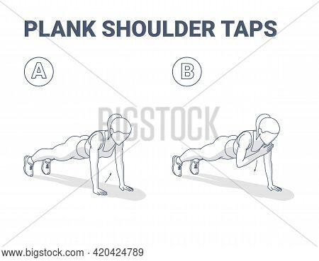 Plank Shoulder Taps Woman Home Workout Exercise Guidance. Female Doing Shoulder Touches From Plank.