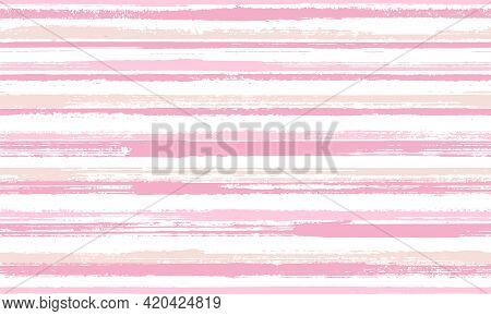 Ink Hand Drawn Parallel Lines Vector Seamless Pattern. Messy Cotton Fabric Print Design. Grainy Text