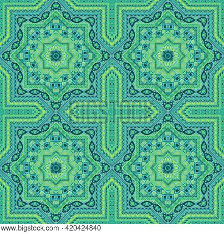 Elegant Italian Maiolica Tile Seamless Ornament. Ethnic Structure Vector Swatch. Rug Print Design. S