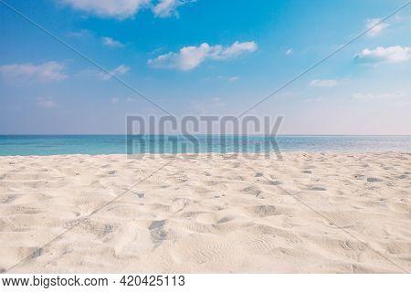 Closeup Sea Sand Beach. Panoramic Beach Landscape. Inspire Tropical Beach Seascape Horizon. Orange A