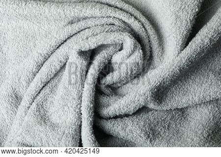 Clean Gray Spiral Towel On Whole Background, Close Up