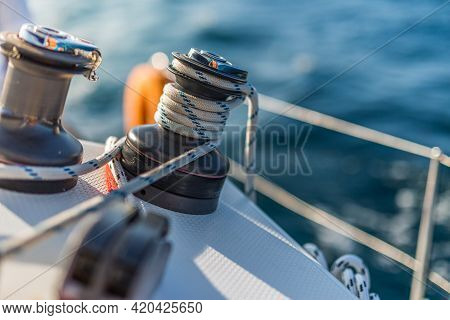 Details Of Sailing Equipment On A Boat When Sailing On The Water In A Sunny Day. Sailing. Boat Or Ya