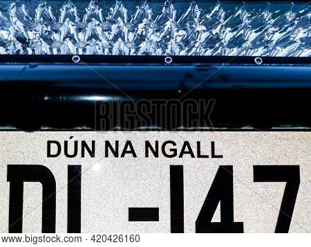 Donegal, Ireland - May 14 2021 : Pickup From Uk Getting A Brand New Irish Car Registration Plate - T