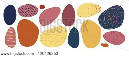Abstract Geometrical Shape Set. Hand Drawn Various Shapes Similar To Sea Stones In Trend Colors. For