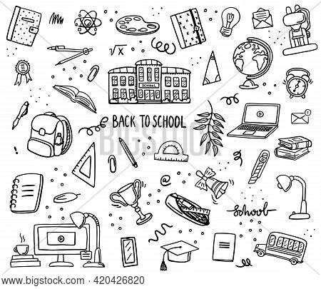 Back To School Doodle Set. Various School Stuff - Supplies For Sport, Art, Reading, Science, Geograp