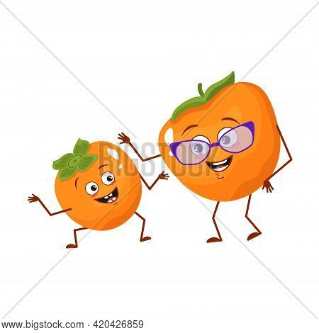 Cute Persimmon Characters With Emotions, Face. Funny Grandmother With Glasses And Dancing Grandson W