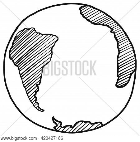 South America, Africa, Antarctica Continents And Atlantic Ocean On Globe Linear Hand Drawing Sketch