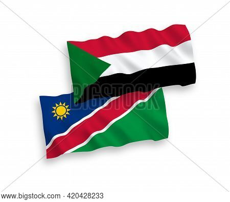 National Fabric Wave Flags Of Republic Of Namibia And Sudan Isolated On White Background. 1 To 2 Pro