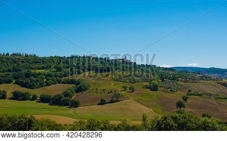 San Quirico D'orcia, Italy - September 3rd 2020. Late Summer Landscape In Val D'orcia Near San Quiri