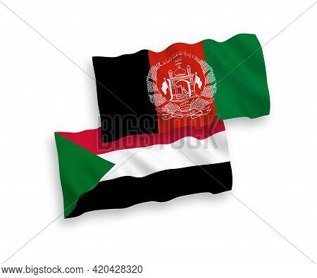 National Fabric Wave Flags Of Islamic Republic Of Afghanistan And Sudan Isolated On White Background