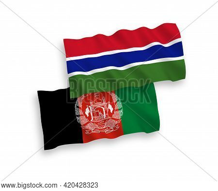 National Fabric Wave Flags Of Islamic Republic Of Afghanistan And Republic Of Gambia Isolated On Whi