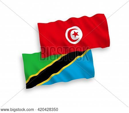 National Fabric Wave Flags Of Republic Of Tunisia And Tanzania Isolated On White Background. 1 To 2