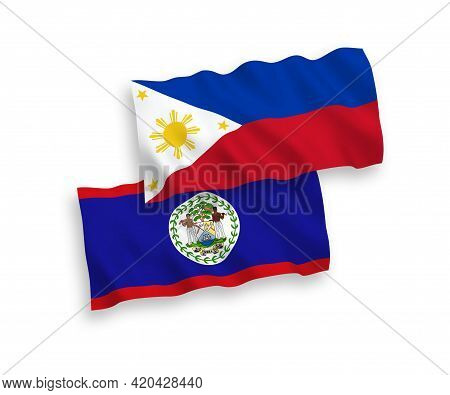 National Fabric Wave Flags Of Belize And Philippines Isolated On White Background. 1 To 2 Proportion