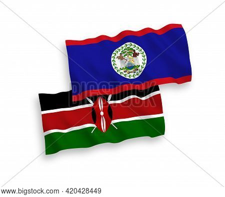 National Fabric Wave Flags Of Belize And Kenya Isolated On White Background. 1 To 2 Proportion.
