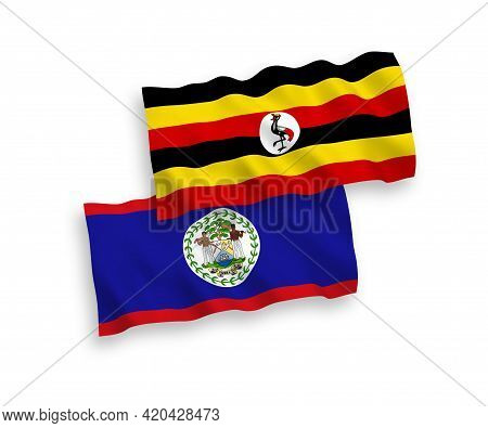 National Fabric Wave Flags Of Belize And Uganda Isolated On White Background. 1 To 2 Proportion.