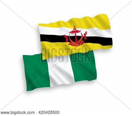 National Fabric Wave Flags Of Brunei And Nigeria Isolated On White Background. 1 To 2 Proportion.