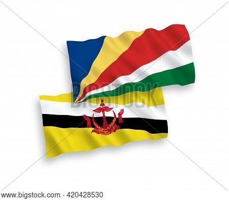 National Fabric Wave Flags Of Brunei And Seychelles Isolated On White Background. 1 To 2 Proportion.