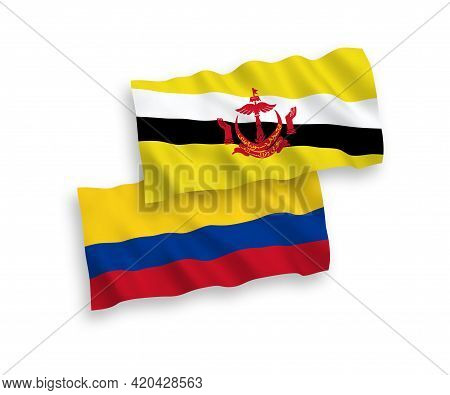 National Fabric Wave Flags Of Brunei And Colombia Isolated On White Background. 1 To 2 Proportion.