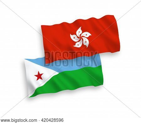 National Fabric Wave Flags Of Republic Of Djibouti And Hong Kong Isolated On White Background. 1 To