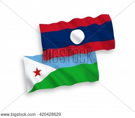 National Fabric Wave Flags Of Republic Of Djibouti And Laos Isolated On White Background. 1 To 2 Pro