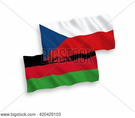 National Fabric Wave Flags Of Czech Republic And Malawi Isolated On White Background. 1 To 2 Proport