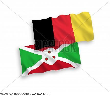 National Fabric Wave Flags Of Burundi And Belgium Isolated On White Background. 1 To 2 Proportion.