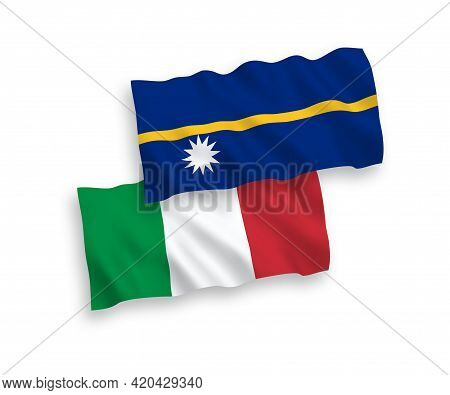 National Fabric Wave Flags Of Italy And Republic Of Nauru Isolated On White Background. 1 To 2 Propo