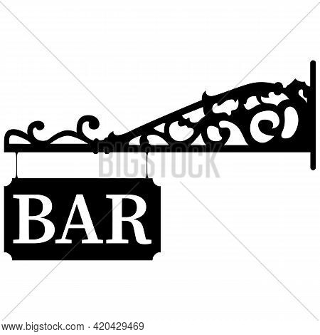 Iron Forged Bar Signboard. Black Vector On White Background