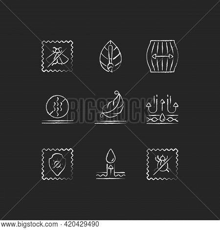 Different Types Of Fabric Chalk White Icons Set On Black Background. Natural Dye, Odor Resistant. In