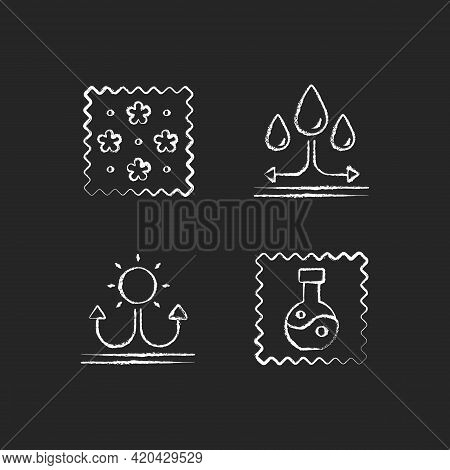 Fabric Features Chalk White Icons Set On Black Background. Print On Textile. Water Repellent. Fabric