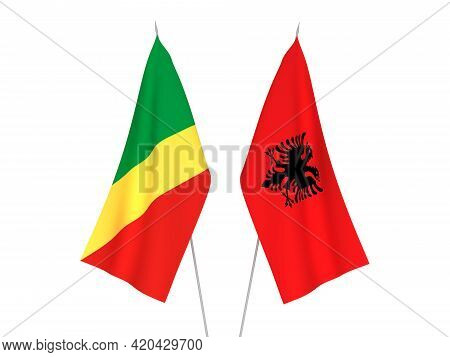 National Fabric Flags Of Republic Of Albania And Republic Of The Congo Isolated On White Background.