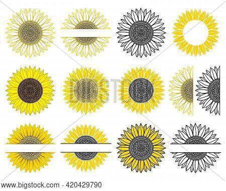 Set Of Sunflower. Split Monogram. Vector Paper Cut Template. Sunflower Mandala. Flower Silhouettes.