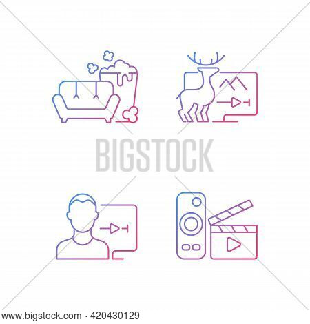 Broadcasting Services Gradient Linear Vector Icons Set. Tv Series, Documentaries, Movies Streaming.