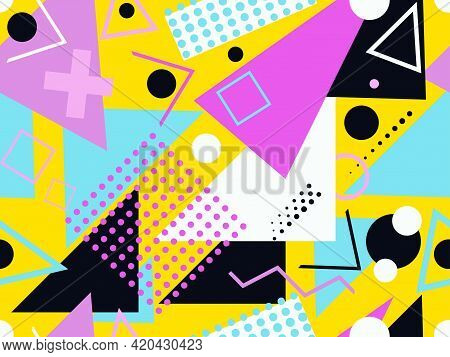 Memphis Seamless Pattern. Geometric Elements Memphis In The Style Of 80's. Trendy Retro Background F