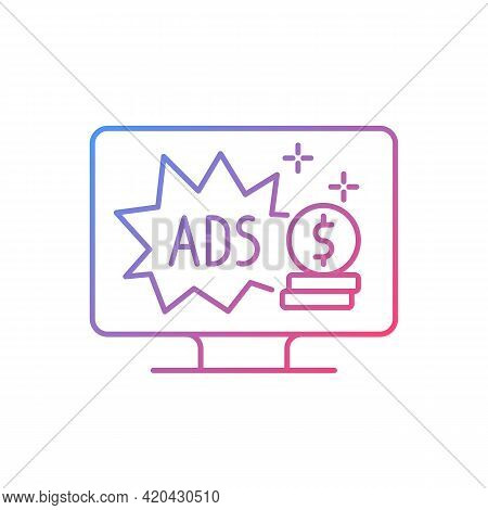 Ad-supported Subscription Plan Gradient Linear Vector Icon. Watching Tv With Commercials. Cheap Alte