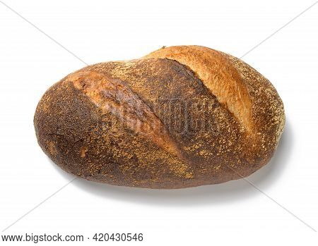 Baked Oblong Bread Made From White Wheat Flour Isolated On White Background, Top View