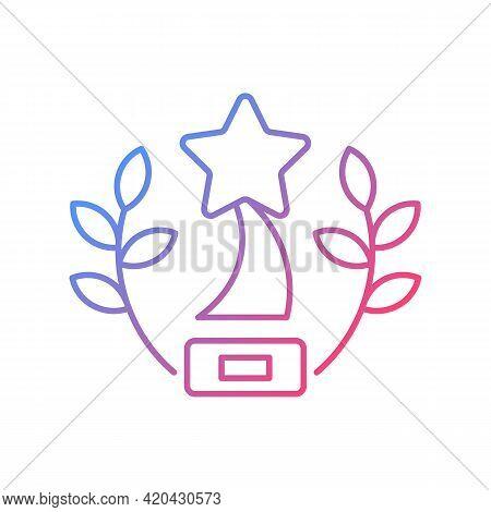 Award-winning Content Gradient Linear Vector Icon. Award-winning Movies On Video Streaming Platform.