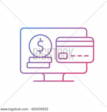 Subscription Fee Gradient Linear Vector Icon. Paying Yearly, Monthly Fees For Streaming Platform Usa