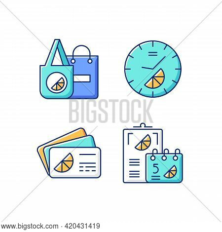Company Branding Materials Rgb Color Icons Set. Advertising Companies Or Businesses With Use Of Bran